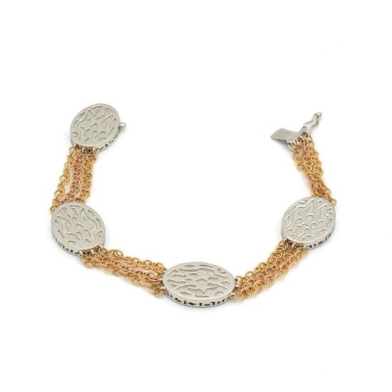 3466888526c0 Pulsera de piezas caladas en oro blanco con cadenas de oro amarillo