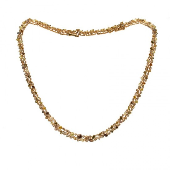 Collar de oro con diamantes blancos y marrones