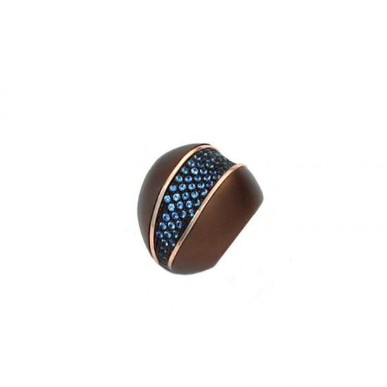Sortija Pesavento en brillo-mate marrón con piedras azules