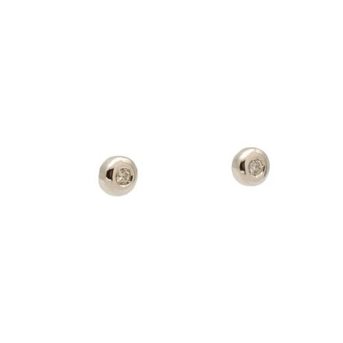 Pendientes de niña en chatón de oro blanco y diamantes de 0,06 qts