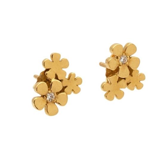 Pendientes de flores para niña en oro amarillo y diamantes