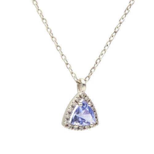 Colgante triangular de tanzanita y diamantes