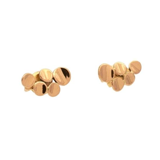 Pendientes de niña en oro rosa con forma de cinco pequeñas pepitas