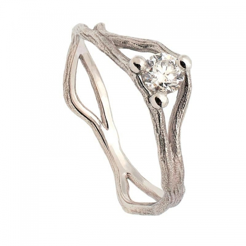 Sortija RAMA en oro blanco y diamante