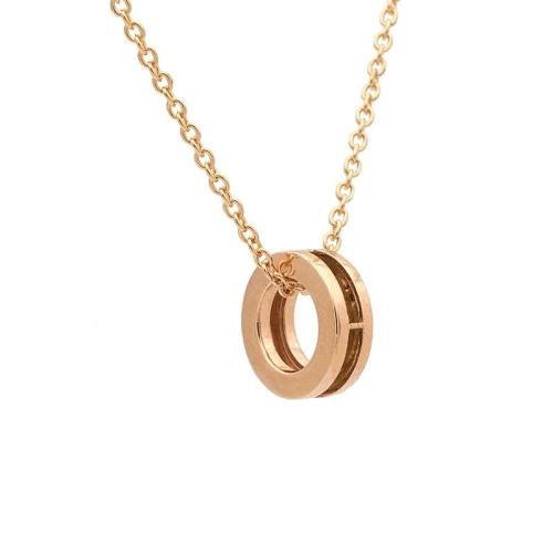Colgante circular en oro rosa con cadena - 0982