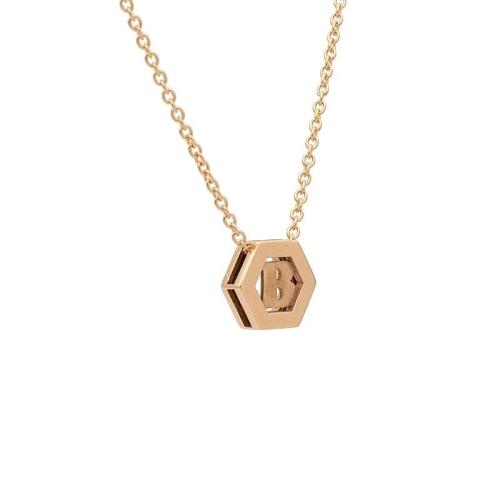 Colgante hexagonal con inicial en oro rosa con cadena - 0983