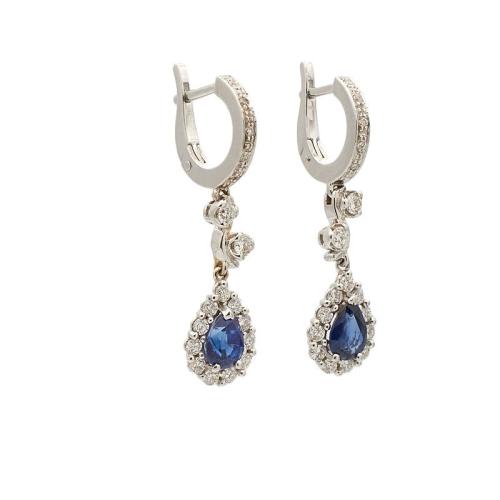 Pendientes de oro blanco con diamantes y zafiros - 0490