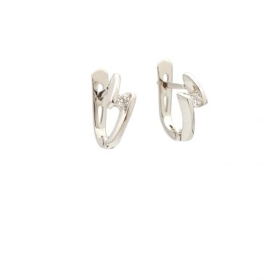 Pendientes de oro blanco con diamantes - 0014