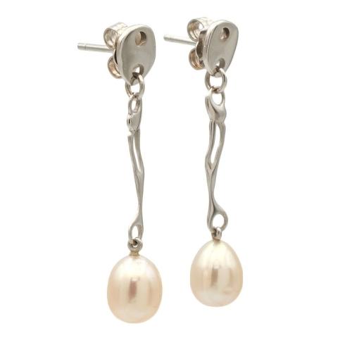Pendientes largos de oro blanco con perlas cultivadas - 0918