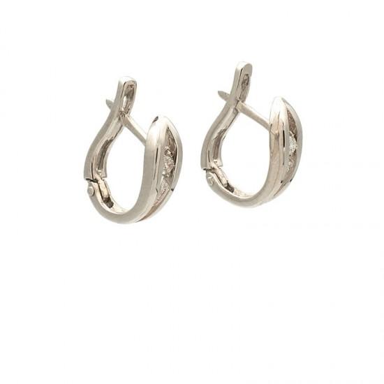 Pendientes de oro blanco en aro con diamantes - 0013