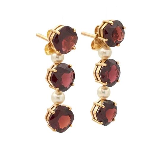 Pendientes de oro con perlas y granates - 0730