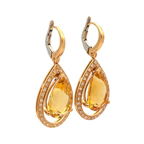 Pendientes de oro rosa con cuarzo amarillo y diamantes - 0300