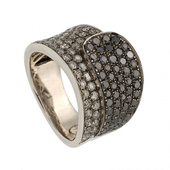 Sortija diamantes negros y grises