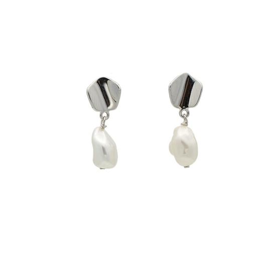 Pendientes de oro blanco y perlas cultivadas - 0372