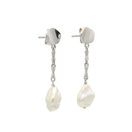 Pendientes largos de oro blanco y perlas cultivadas - 0373