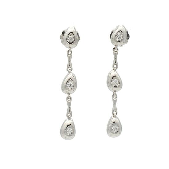 Pendientes con movimiento en oro blanco y diamantes - 1024