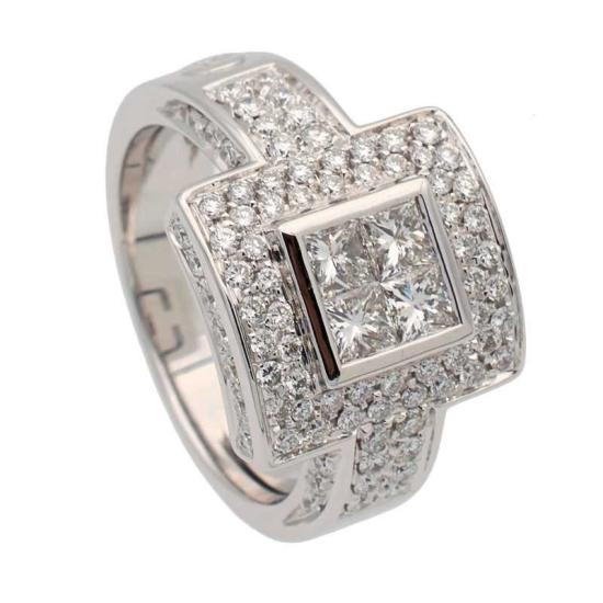 Sortija cuadrada de diamantes