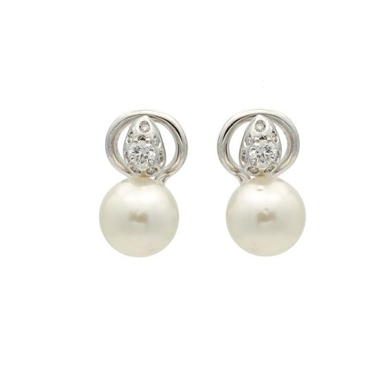 Pendientes de perlas australianas y diamantes - 1023