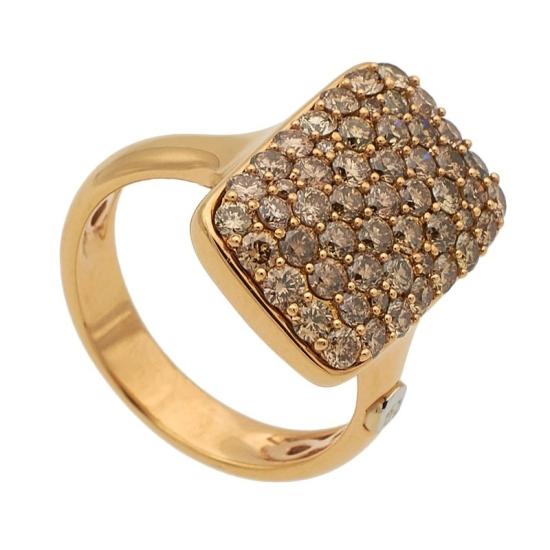Sortija de oro rosa y diamantes brown