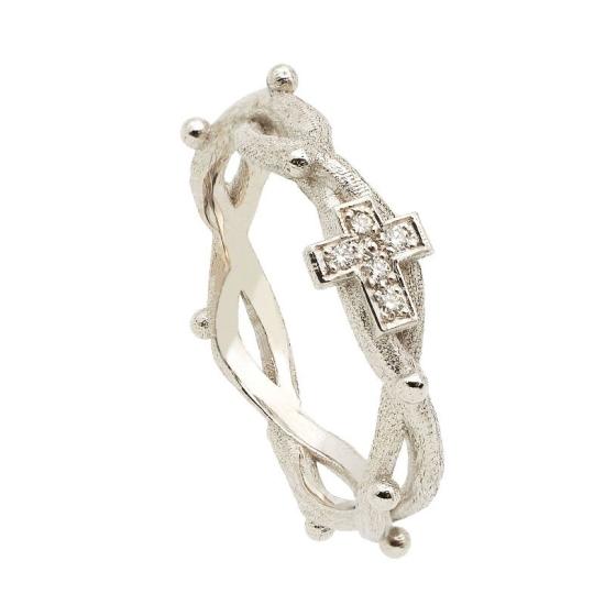 Sortija rosario en oro blanco con...