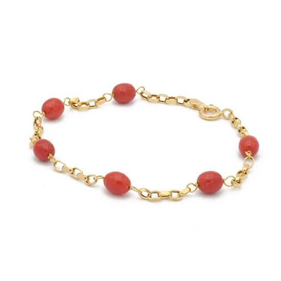 Pulsera de oro con perlitas de coral...