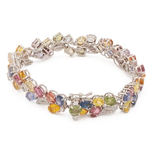Pulsera de oro blanco con diamantes y zafiros - 0366