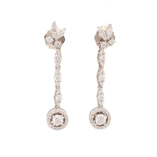 Pendientes largos con diamantes - 1067