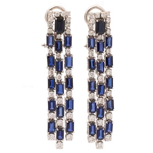 Pendientes largos de diamantes y zafiros - 0437