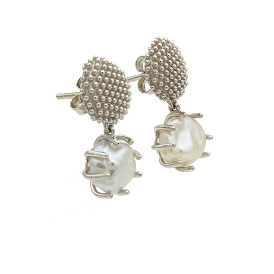 """Pendientes """"Cactus"""" con perlas"""