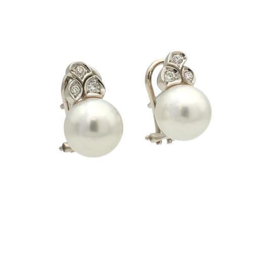 Pendientes de perlas australianas y diamantes