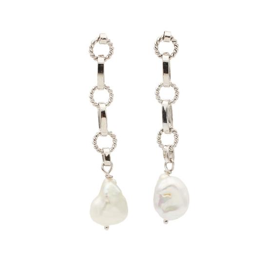 Pendientes largos con perlas...