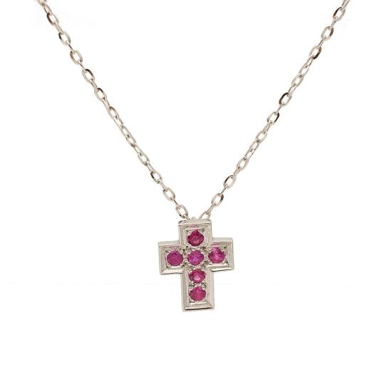 Colgante en forma de cruz con rubíes...