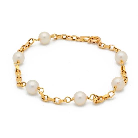 Pulsera de oro con perlitas - 0317