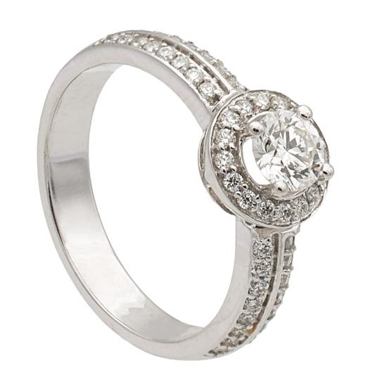 Sortija con rosetón de diamantes