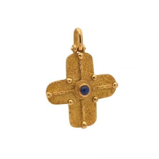 Cruz Oro Amarillo con Zafiro
