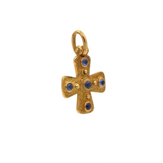 Cruz Oro Amarillo y Zafiros
