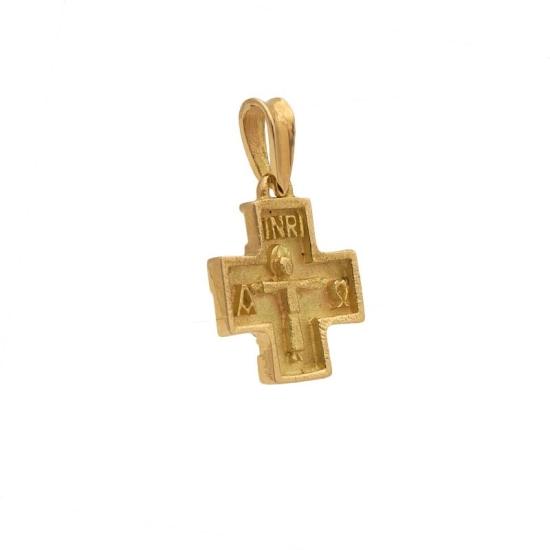 Cruz Oro Cuadrada con Cristo