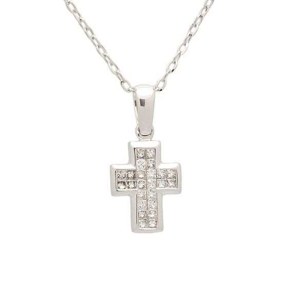 Cruz y cadena de oro blanco con...