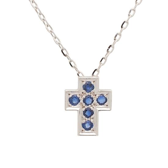 Cruz y cadena de oro blanco con zafiros