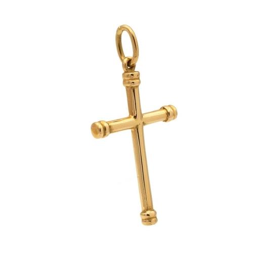 Cruz de tubo en Oro Amarillo