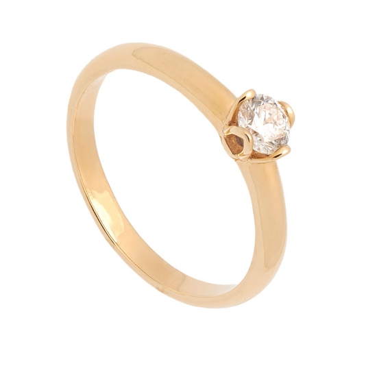 Solitario de oro amarillo y diamante...