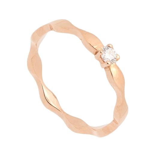 Sortija onda en oro rosa y diamante