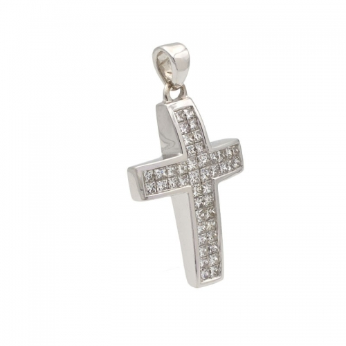 Cruz de oro blanco y diamantes