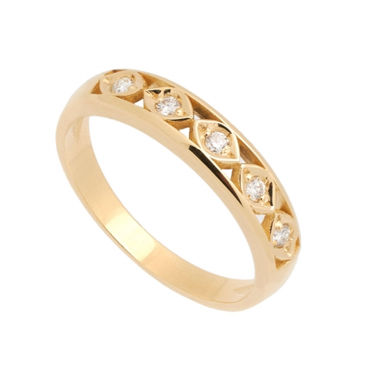 Sortija en oro amarillo y diamantes -...