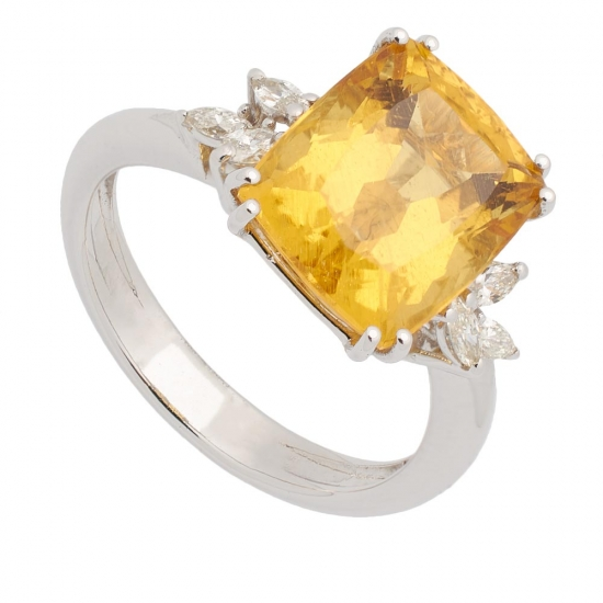 Sortija con Heliodoro y Diamantes - 0445