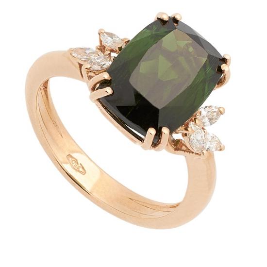 Sortija con Turmalina y Diamantes - 0446