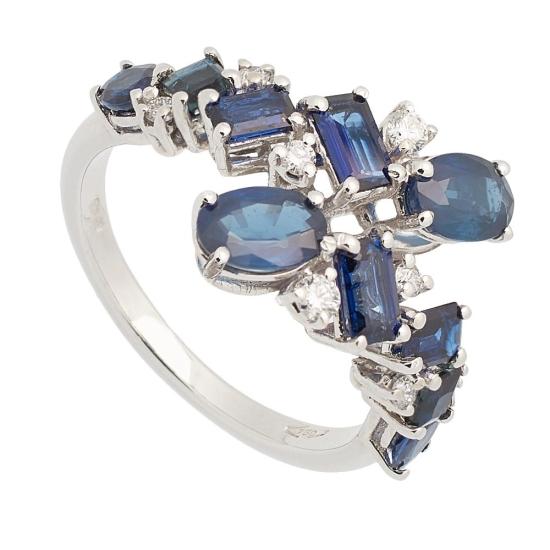Sortija de Zafiros y Diamantes - 0449