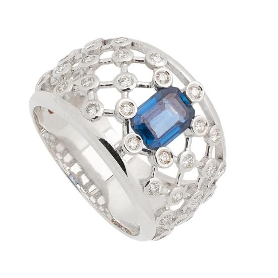 Sortija de Zafiros y Diamantes - 1241