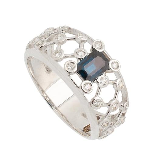 Sortija de Zafiro y Diamantes - 1237