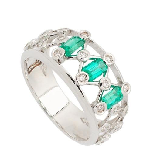 Sortija de Esmeraldas y Diamantes - 1239